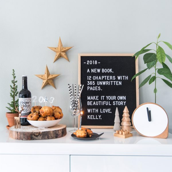 happy new year nieuwjaar quote 2018 oliebollen avocado plant kerst decoratie letterbord letterboard intratuin