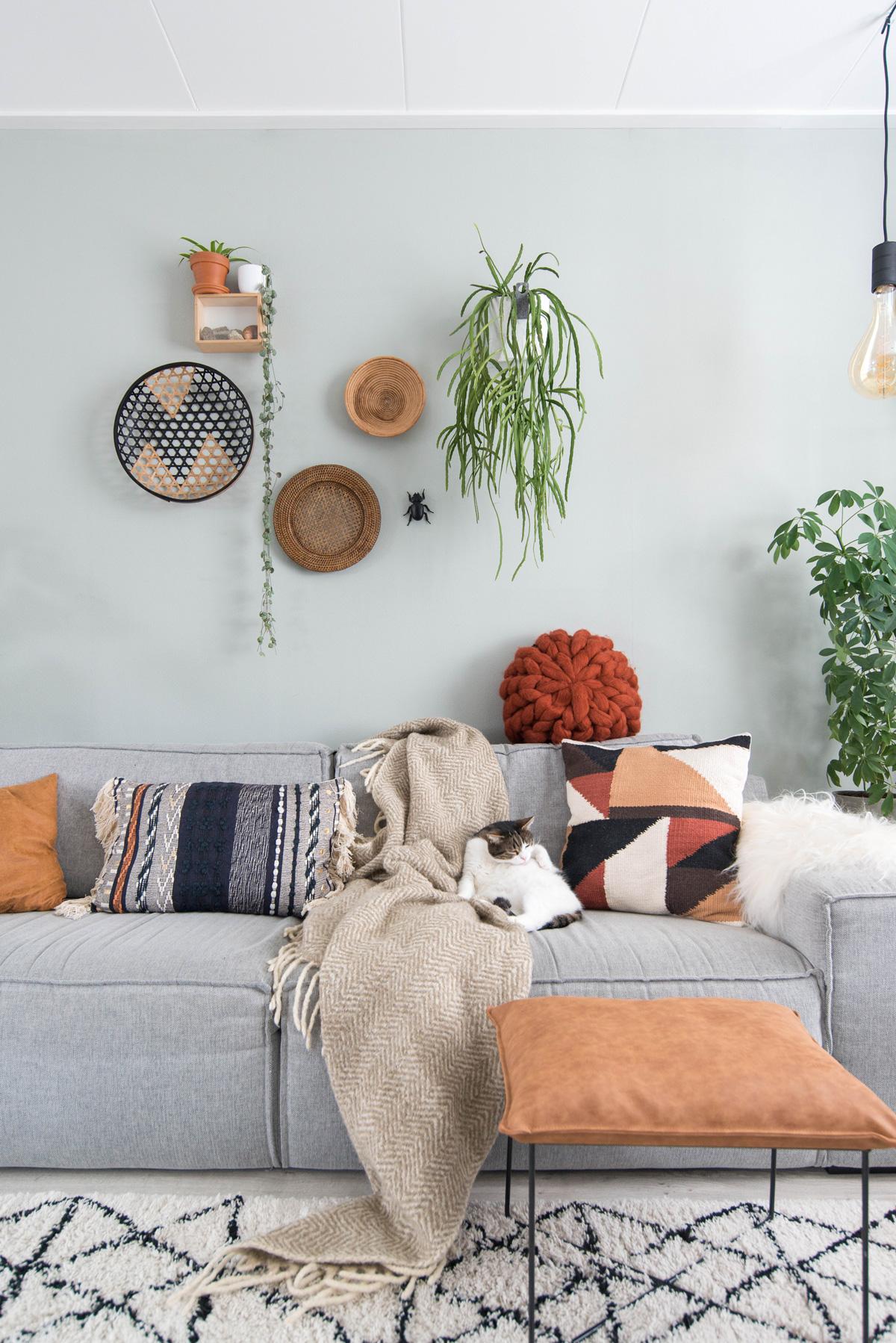 keeelly91 blog interieur woonkamer cognac roest nieuwe kleuren planten groen in huis bohemian bohostyle